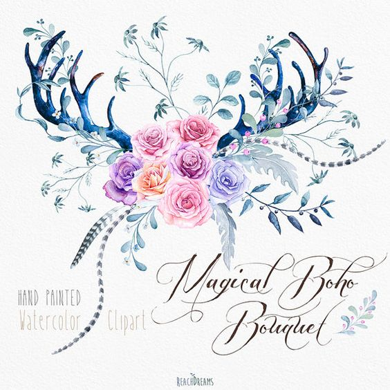 Watercolor Clip Art Antlers, Roses Flowers, Feathers, Stag horns.