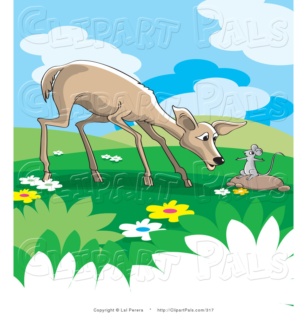 Pal Clipart of a Wild Rat Talking to a Concerned Deer in a Meadow.