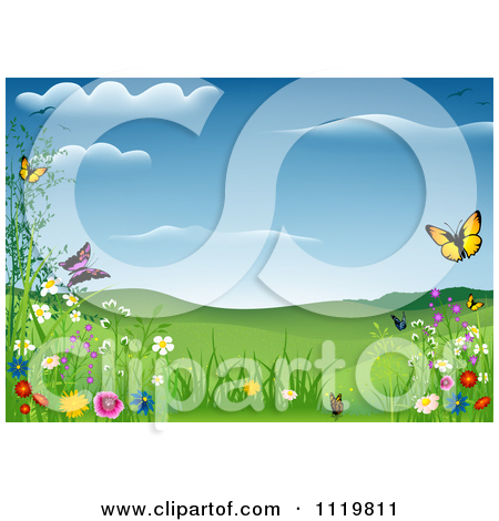 Clipart of a Spring Meadow with Butterflies and Wild Flowers.