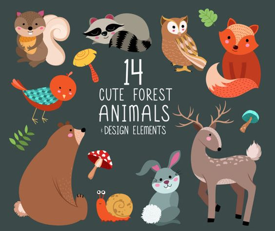 Cute Forest Animals Clip Art.