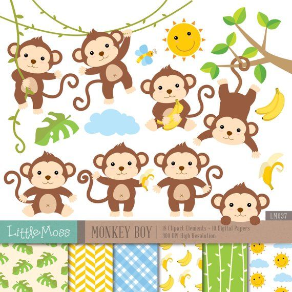 Monkey Boy Digital Clipart and Papers, Monkey Clipart.