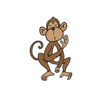 Animal wild monkey cartoon Clipart Image.