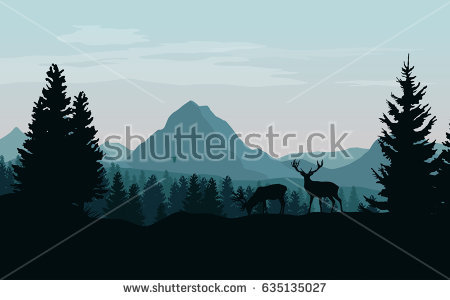Silhouette Forest Mountain Scene.