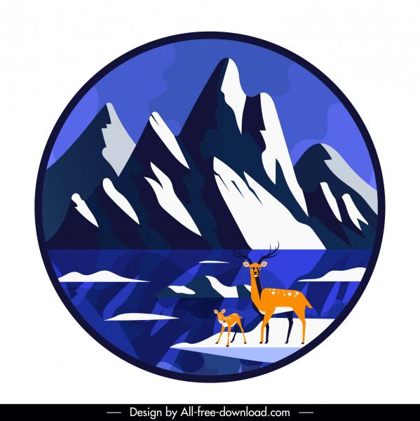 Wild scene background mountain reindeers sketch circle.