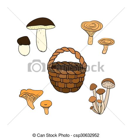 Clipart Vector of Wild mushrooms.