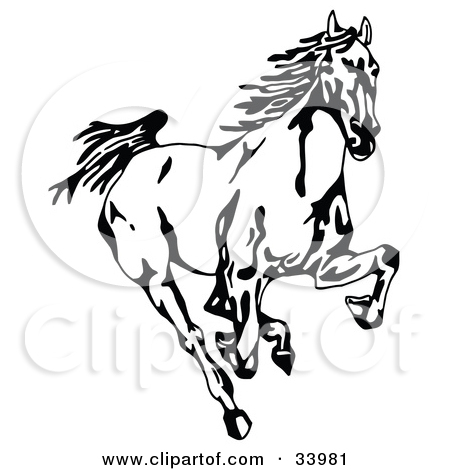 Clipart Illustration of Two Galloping Wild Horses, One In Profile.