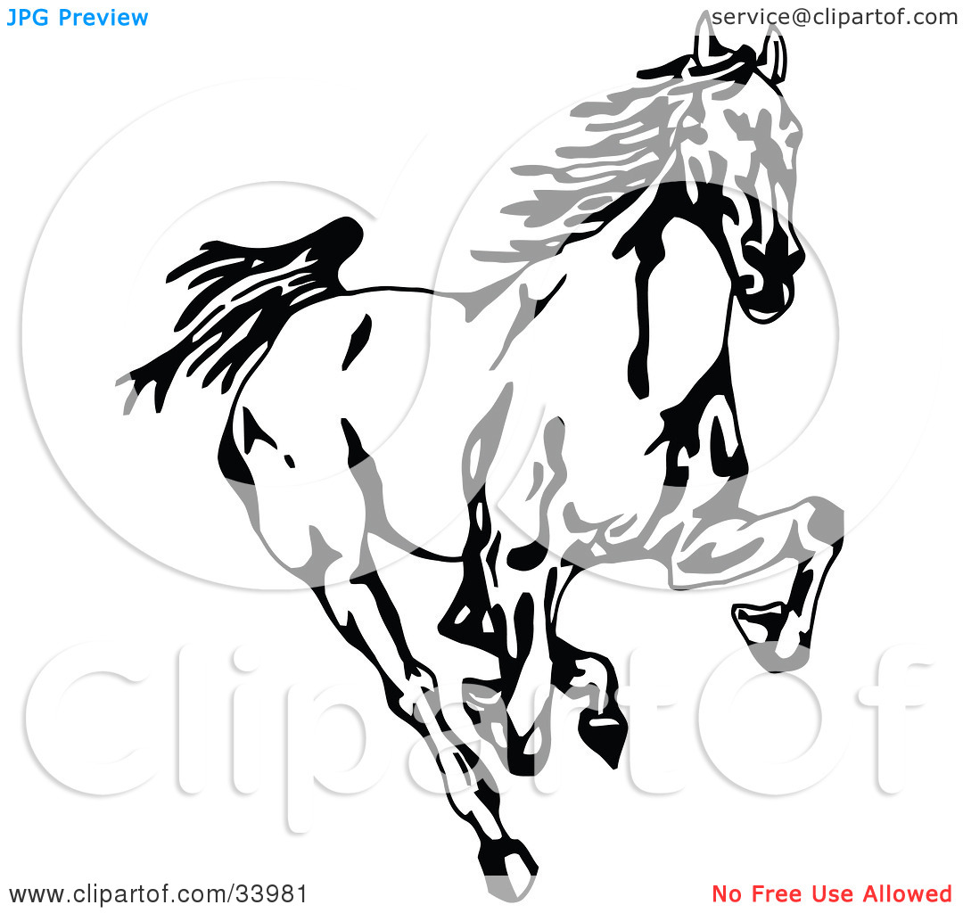 Clipart Illustration of a Black And White Wild Mustang Running.