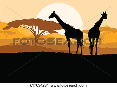Clipart of Giraffe family silhouettes in Africa wild nature.