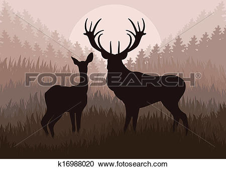 Clipart of Animated rain deer in wild nature landscape.