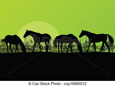 Vector Clip Art of Countryside farm horses silhouettes in wild.