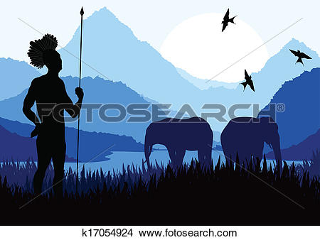Clipart of Animated cute elephant family in wild nature landscape.