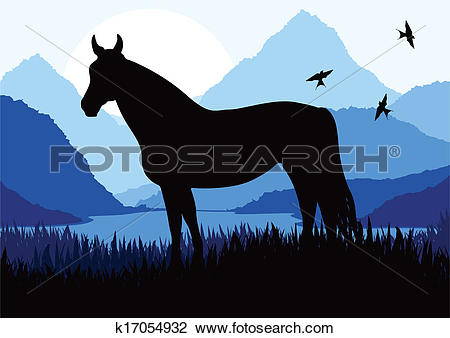 Clipart of Animated horse in wild nature landscape illustration.