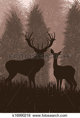 Clip Art of Animated rain deer in wild nature landscape.