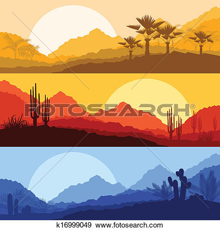 Clip Art of Desert wild nature landscapes with cactus and palm.