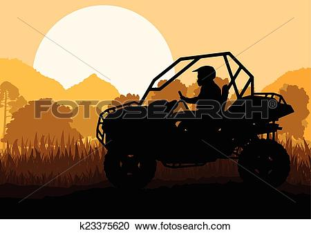 Clipart of All terrain vehicle quad motorbike rider in wild nature.