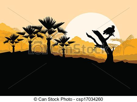 Clip Art Vector of Desert wild nature landscape with cactus, palm.