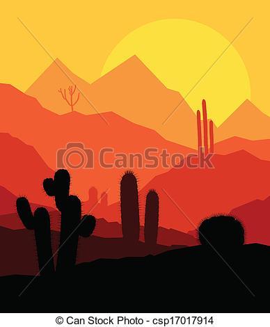Vector Clip Art of Desert cactus plants wild nature landscape.