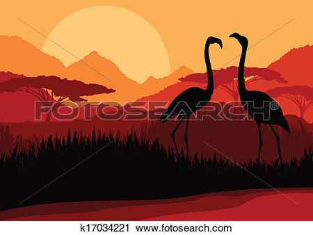 Clipart of Flamingo couple in Africa wild nature mountain.