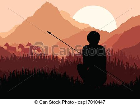EPS Vector of Native African hunter in wild nature landscape.