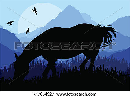 Clip Art of Animated horse in wild nature landscape illustration.
