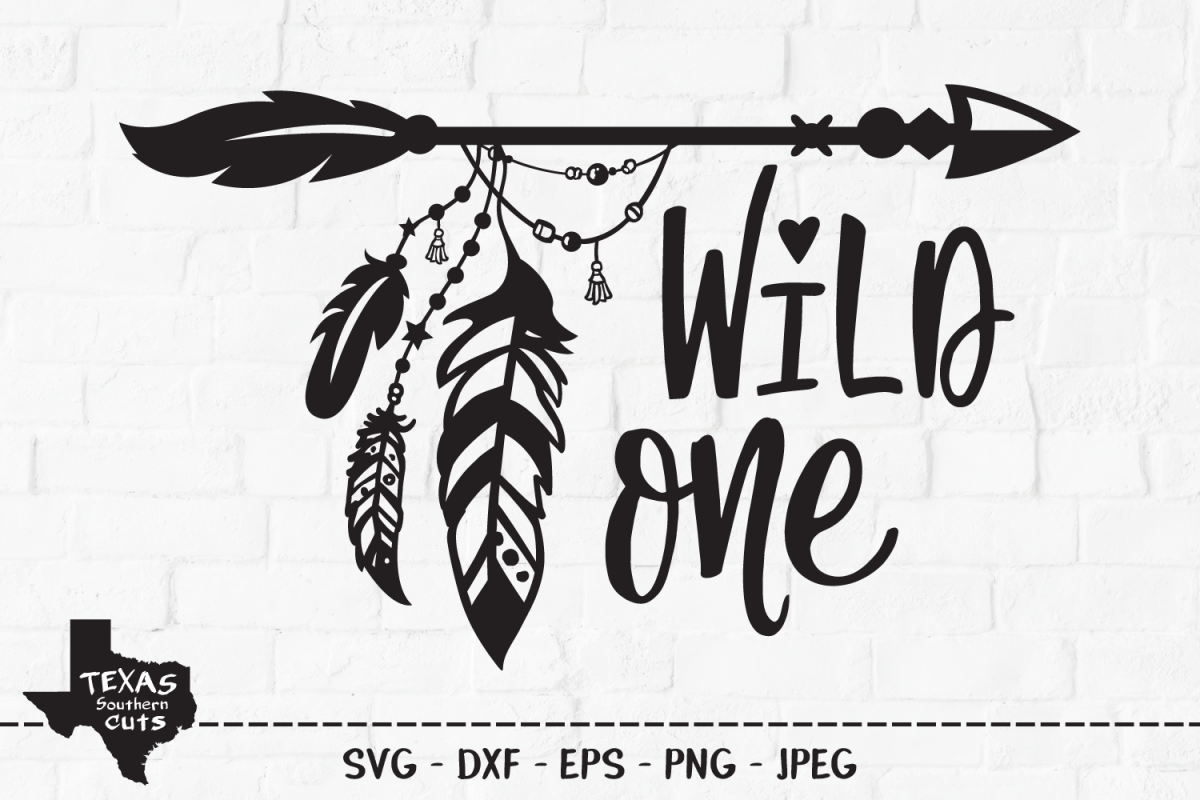 Wild One SVG, Cut File, Tribal Arrow, Hippie Feathers, Camp.