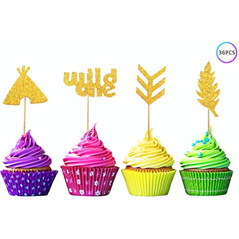 Details about 36 Pcs Wild One Cupcake Toppers Boho Tribal Arrow Feather  Teepee Birthday Theme.