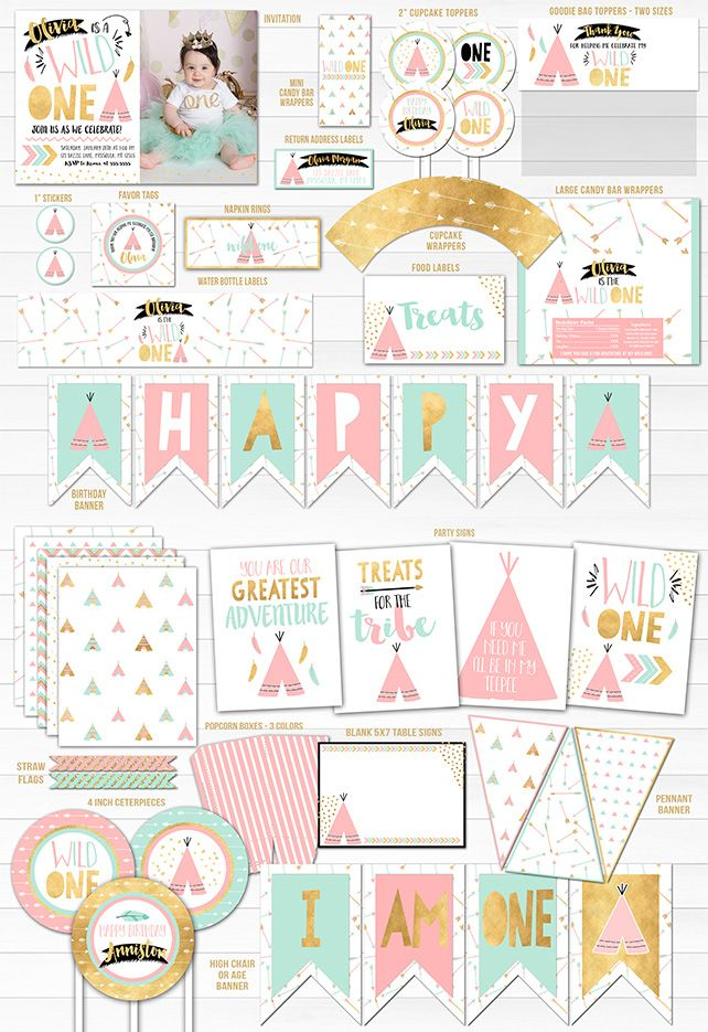 Printable Girls Wild One Birthday Party Package Decorations.