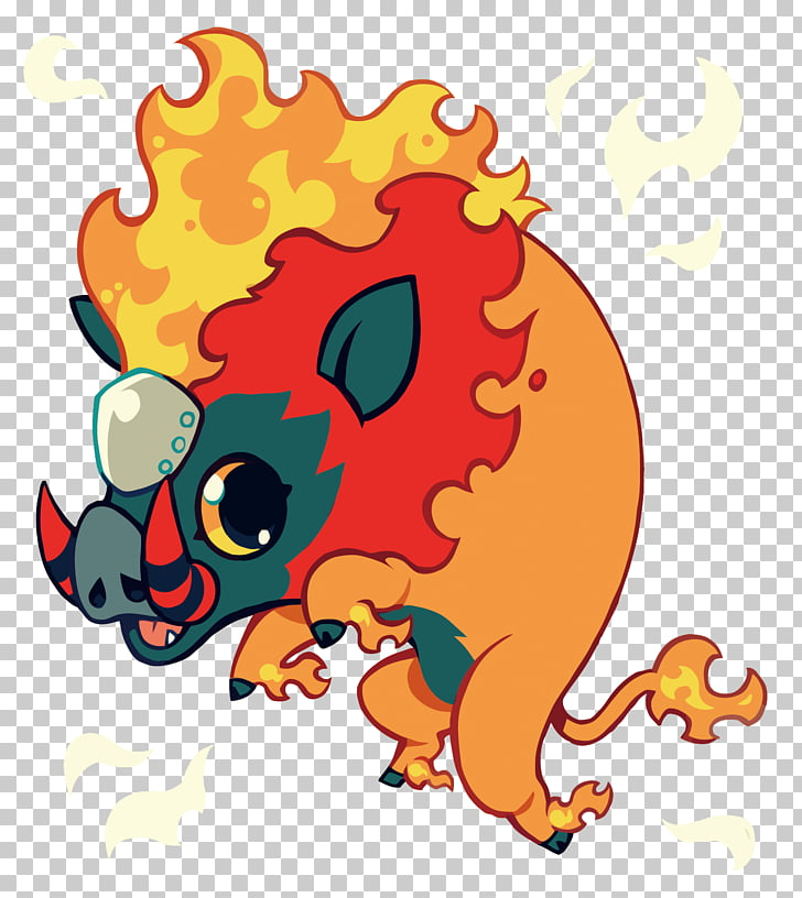 Digimon Illustration, flame wild boar PNG clipart.