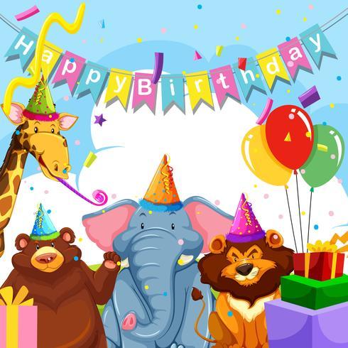 Wild animal on birthday template.