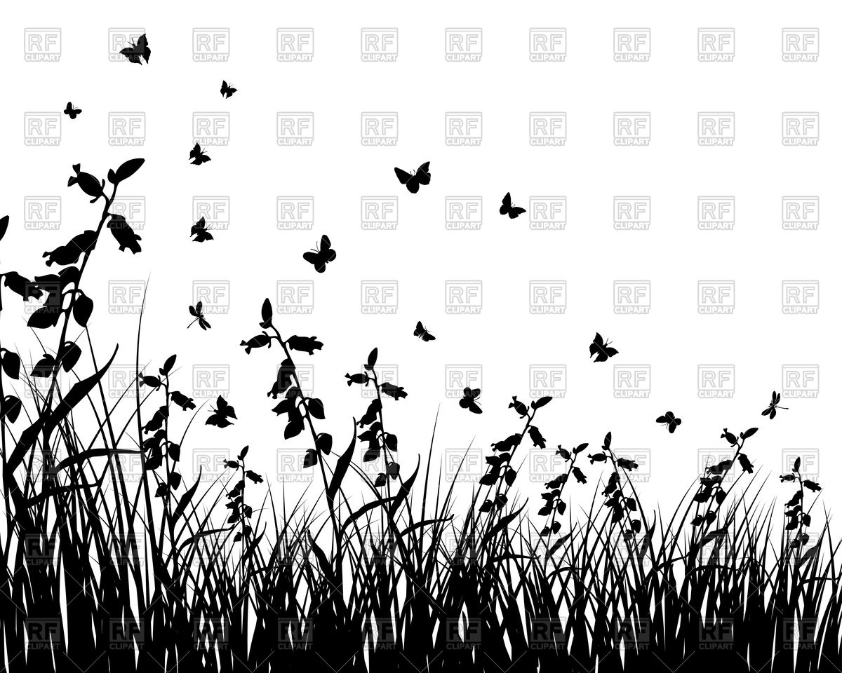 Wild plant and grass silhouettes Vector Image #92716.