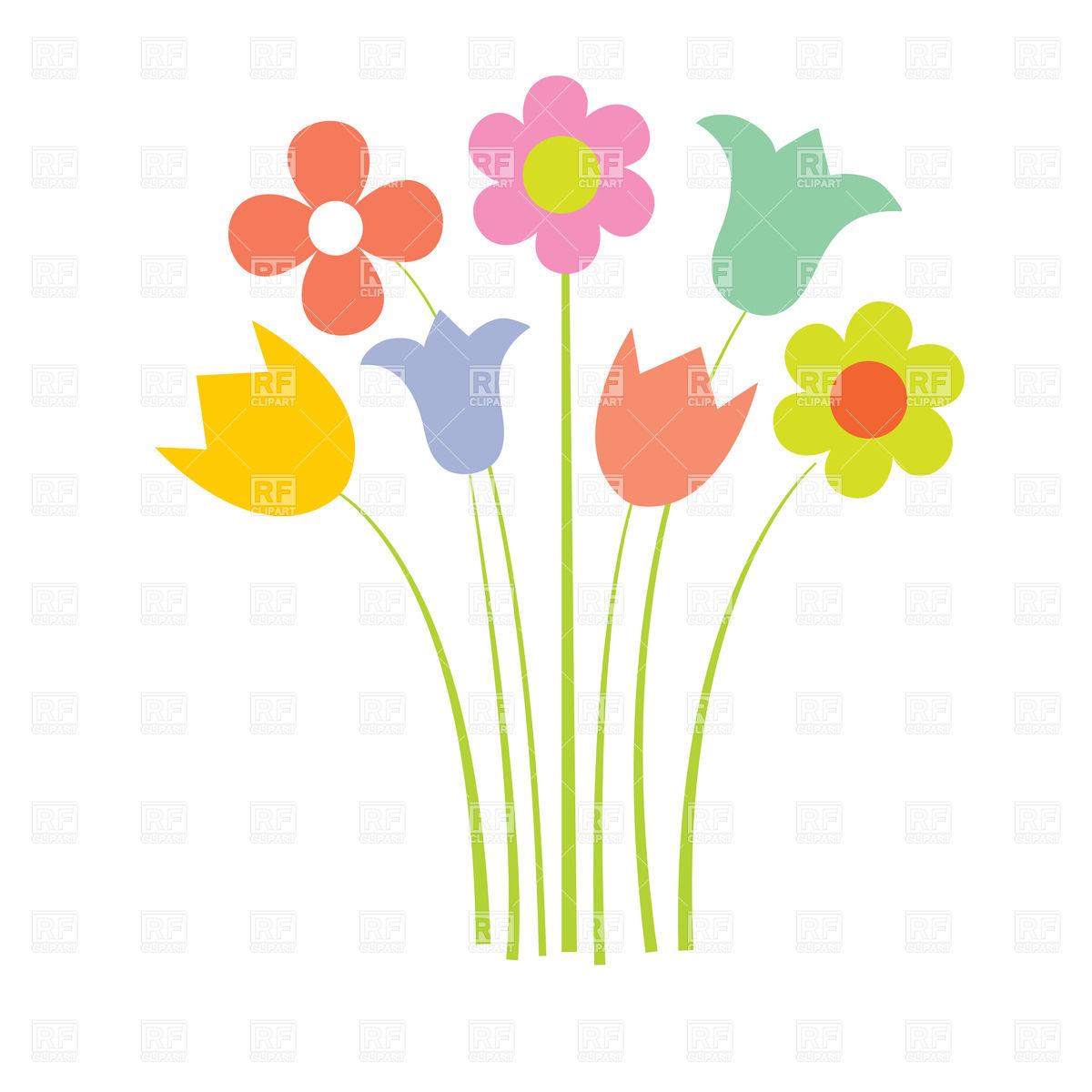 Wild Flower Clip Art Cartoon Wildflowers In Simple Style Plants.