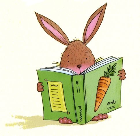 bunny reading a carrot book, illustration from very first.