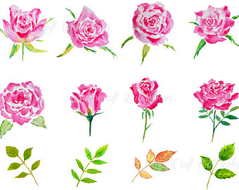 Watercolor Clipart Roses Are Red red rose wild rose by CornerCroft.