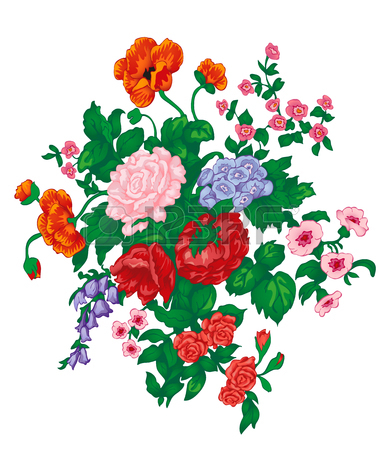 Vector Bouquet With Red Rose, Poppies, Bluebells, Wild Flowers.