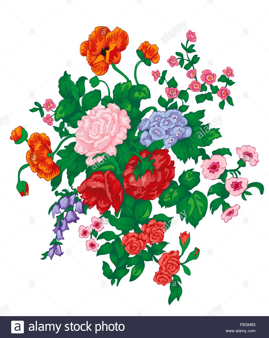 Vector Bouquet With Red Rose, Poppies, Bluebells, Wild Flowers And.