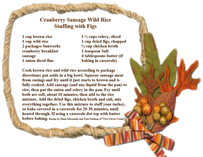 Cranberry Sausage Wild Rice Stuffing with Figs.