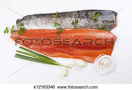Stock Images of Wild Salmon Fillets and Herbs k12163346.
