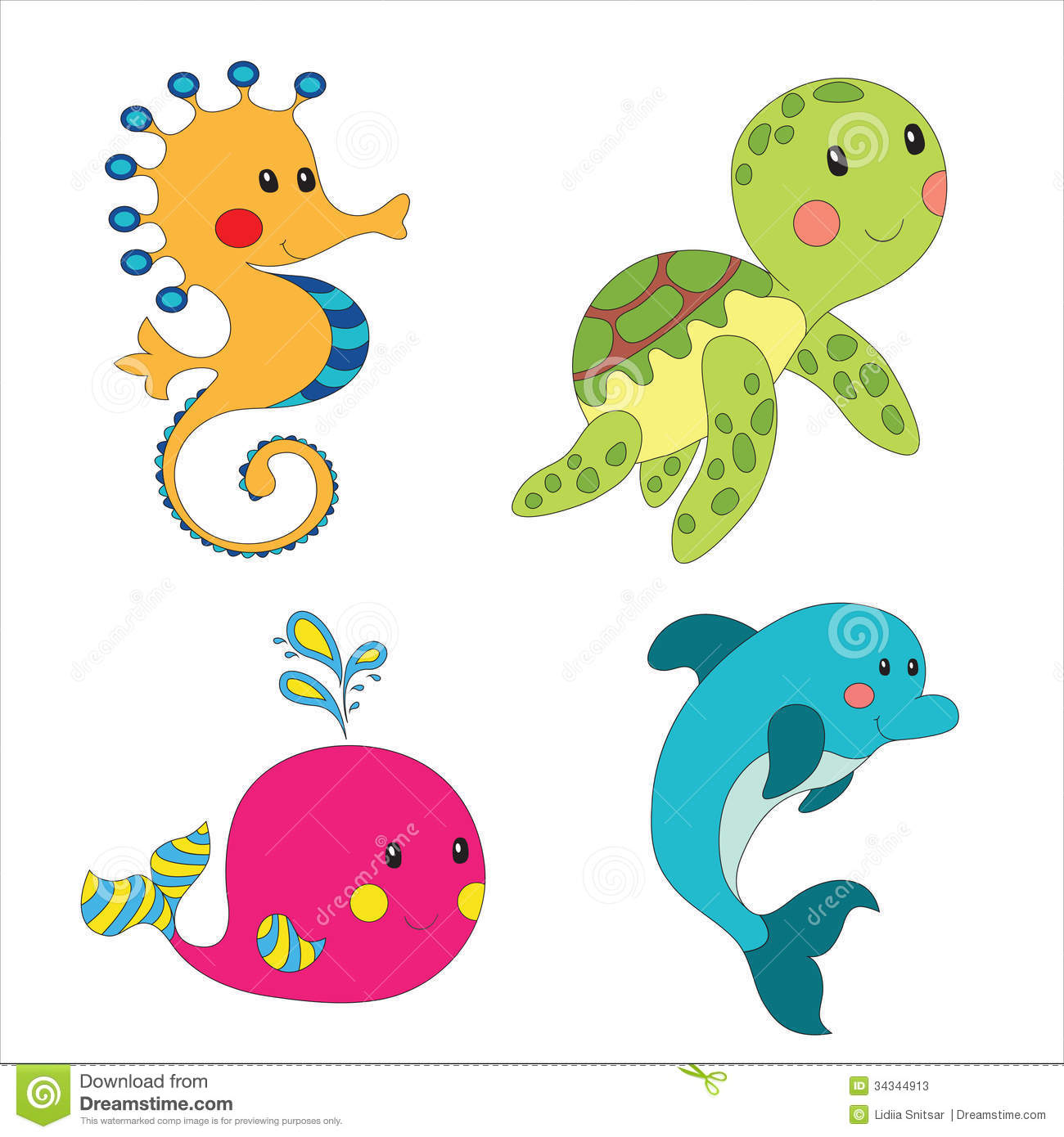 Cartoon Sea Creatures Clipart.