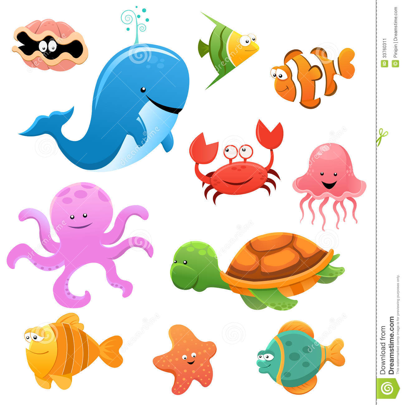 Realistic Ocean Animals Clipart.