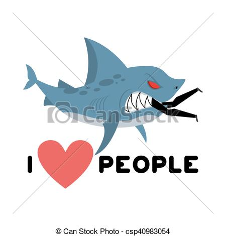 Clipart Vector of I love people. Shark eats man. Wild sea predator.