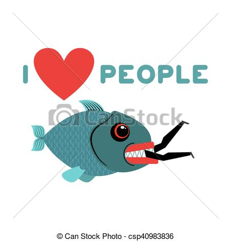Vectors of I love people. predator fish eats man. Wild sea Shark.