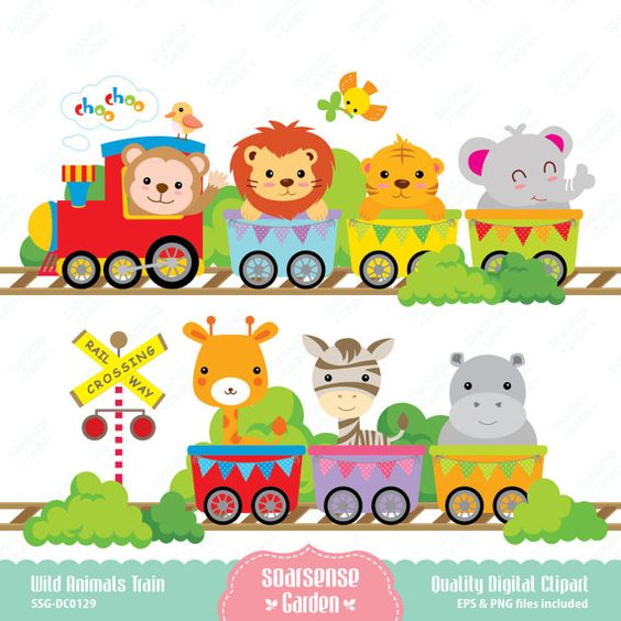 Wild Animals Train Digital Clipart by SSGARDEN on Etsy, $3.99.