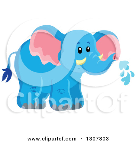 Clipart of a Black and White Lineart Elephant Wearing a Nightcap.