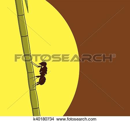 Clipart of Ant Climbing on Sugarcane k40180734.