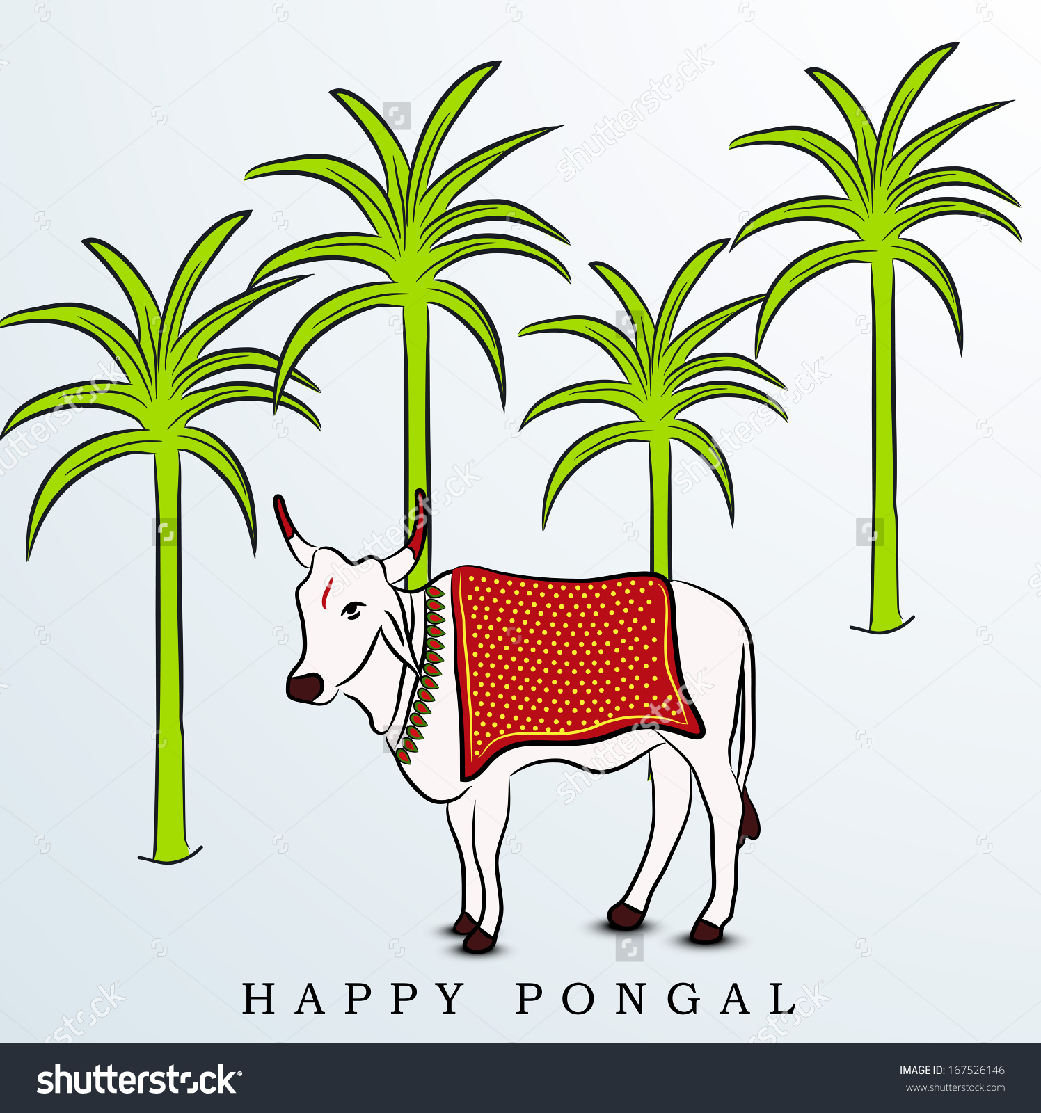 Happy Pongal Harvest Festival Celebration South Stock Vector.
