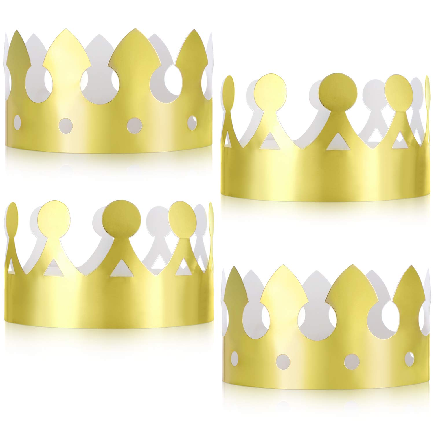 Jovitec 24 Pieces Golden King Crowns Gold Foil Paper Party Crown Hat Cap  for Birthday Celebration Baby Shower Photo Props.