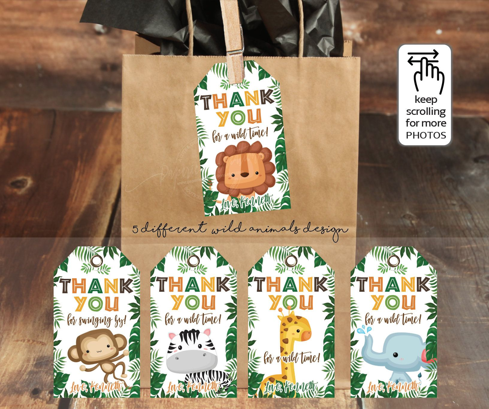 Jungle Animals Favor Tags, Kraft Brown Bags, Safari Birthday.