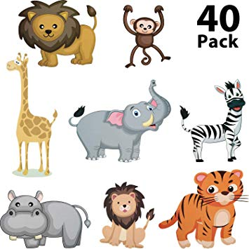 40 Pieces Zoo Animals Cutouts Jungle Cutouts Animal Cardboard Cutouts for  Baby Shower, Photo Props, Birthday Party Decorations.