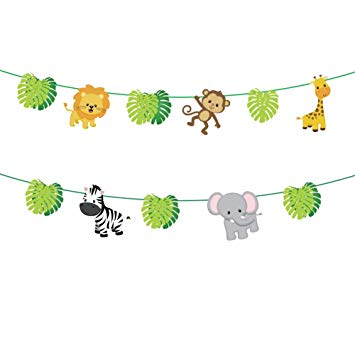 CC HOME Jungle Safari Theme Party Supplies,Tropical Palm leaves Garland  Banner ,Wild One,Forest Zoo Animal Decorations , Jungle Safari Party.
