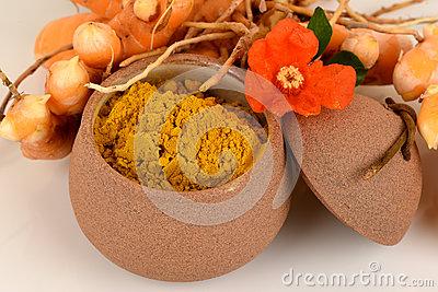 Fresh Wild Turmeric Powder Curcuma Aromatica Salisb Herb Thailand.